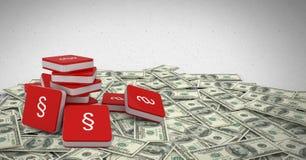 icone di simbolo della sezione 3D con le note dei soldi Immagine Stock Libera da Diritti