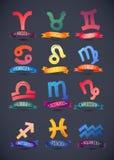 Icone di simbolo dello zodiaco sul fondo di colore Illustrazione di vettore Fotografie Stock Libere da Diritti