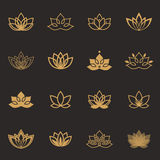 Icone di simbolo di Lotus Etichette floreali di vettore per industria di benessere Immagini Stock