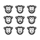 Icone di smiley della scimmia Immagine Stock Libera da Diritti