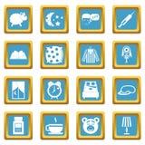 Icone di sonno azzurrate Fotografie Stock Libere da Diritti