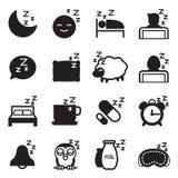 Icone di sonno della siluetta Fotografia Stock Libera da Diritti