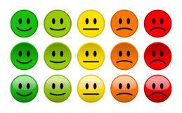Icone di sorriso del livello di umore su fondo bianco Immagini Stock