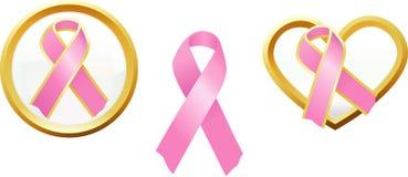 Icone di sostegno di consapevolezza del cancro della mammella Immagini Stock