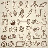 Icone di sport e di forma fisica Immagine Stock