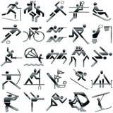 Icone di sport impostate nel nero illustrazione vettoriale