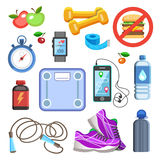 Icone di sport o elementi del corredo di forma fisica Concetto di sport, vettore Immagine Stock