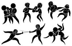 Icone di sport per le arti marziali differenti illustrazione di stock