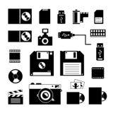 Icone di stoccaggio e del computer messe Fotografia Stock