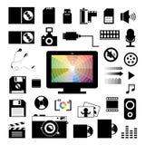 Icone di stoccaggio e di tecnologia messe Immagini Stock
