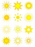 Icone di Sun Immagini Stock Libere da Diritti