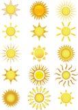 Icone di Sun. Illustrazione di vettore Fotografia Stock Libera da Diritti