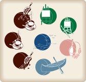 Icone di svago a colori Fotografia Stock