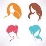 Icone di taglio di capelli messe Immagine Stock