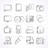 Icone di tecnologia del collegamento e di comunicazione Fotografia Stock Libera da Diritti