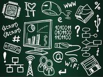 Icone di tecnologia dell'informazione sulla scheda di banco Fotografia Stock