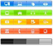 Icone di tecnologia della barra Fotografia Stock Libera da Diritti