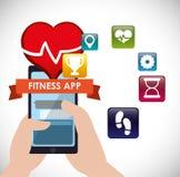 Icone di tecnologia di app di forma fisica Immagine Stock