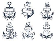 Icone di tema marine dell'ancora delle navi con i nastri Immagine Stock