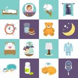 Icone di tempo di sonno piane Fotografia Stock Libera da Diritti