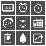 Icone di tempo e dell'orologio Fotografie Stock