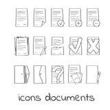 Icone di tiraggio della mano dei documenti e dei contratti Immagine Stock
