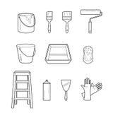 Icone di Tools Objects Outline del pittore messe Fotografia Stock
