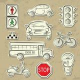 Icone di traffico di città Fotografia Stock