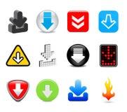 Icone di trasferimento dal sistema centrale verso i satelliti Fotografia Stock