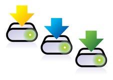 Icone di trasferimento dal sistema centrale verso i satelliti Immagine Stock
