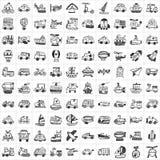 100 icone di trasporto Immagini Stock