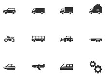 12 icone di trasporto Fotografie Stock