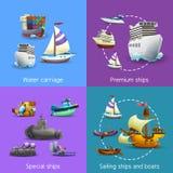 Icone di trasporto dell'acqua messe Fotografia Stock