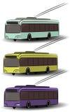 Icone di trasporto della città Bus di vista laterale, tram, filobus Veicolo adibito al trasporto di persone di vettore Macchine e Immagine Stock