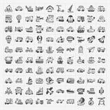 Icone di trasporto di scarabocchio messe Fotografia Stock