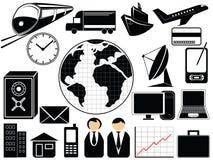 Icone di trasporto e di affari Fotografia Stock
