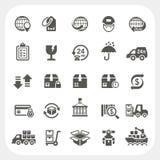 Icone di trasporto e di logistica messe Fotografie Stock Libere da Diritti