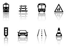 Icone di trasporto messe con la siluetta di riflessione Immagini Stock