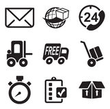 Icone di trasporto o di consegna Immagine Stock Libera da Diritti