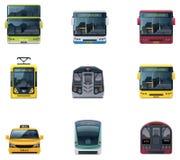 Icone di trasporto pubblico di vettore Fotografia Stock Libera da Diritti