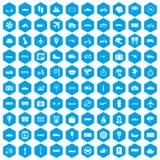 100 icone di trasporto pubblico messe blu royalty illustrazione gratis