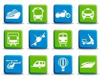 Icone di trasporto sui bottoni Immagine Stock Libera da Diritti