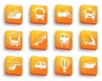 Icone di trasporto sui bottoni Fotografia Stock Libera da Diritti