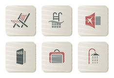 Icone di Treval e dell'hotel | Serie del cartone Fotografia Stock Libera da Diritti