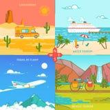 Icone di turismo della bicicletta e dell'acqua di Caravaning di viaggio royalty illustrazione gratis