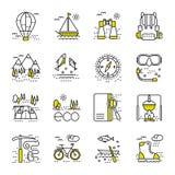 Icone di turismo di Eco messe su fondo bianco Immagini Stock Libere da Diritti