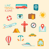 Icone di turismo e di corsa illustrazione di stock