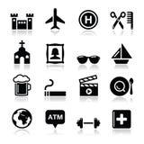 Icone di turismo e di trasporto di viaggio impostate -   Fotografie Stock Libere da Diritti