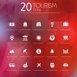 Icone di turismo su fondo vago Immagine Stock