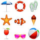 Icone di vacanza di estate. Fotografia Stock Libera da Diritti